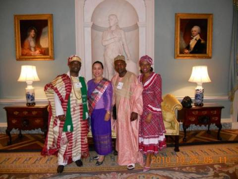 photo of 4 Fellows at the diplomatic reception during the GLF