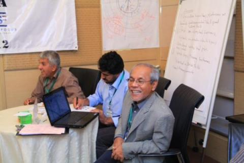 Khairuddin (right) facilitates group work during the 2012 Training and Study Tour for Afghan Military Officials