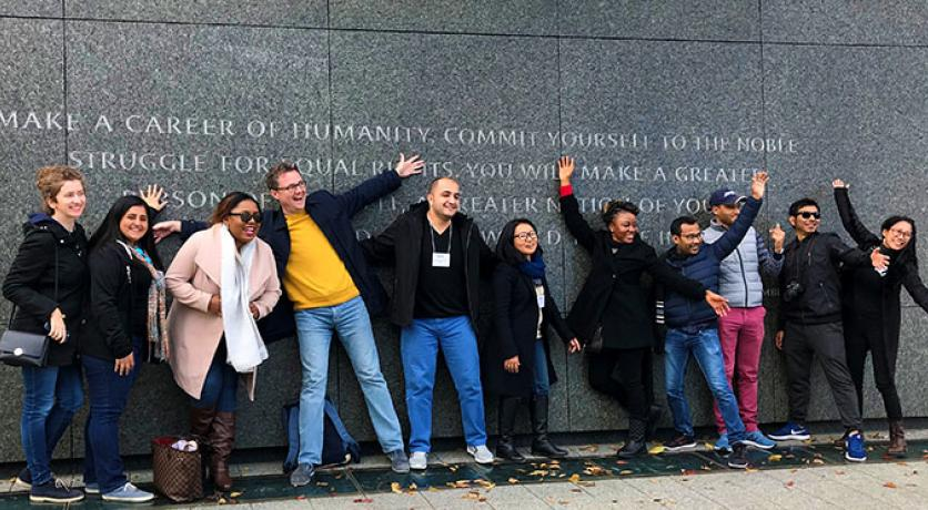 2018-2019 Humphrey Fellows from Emory University touring the monuments in Washington DC at the 2018 Global Leadership Forum.